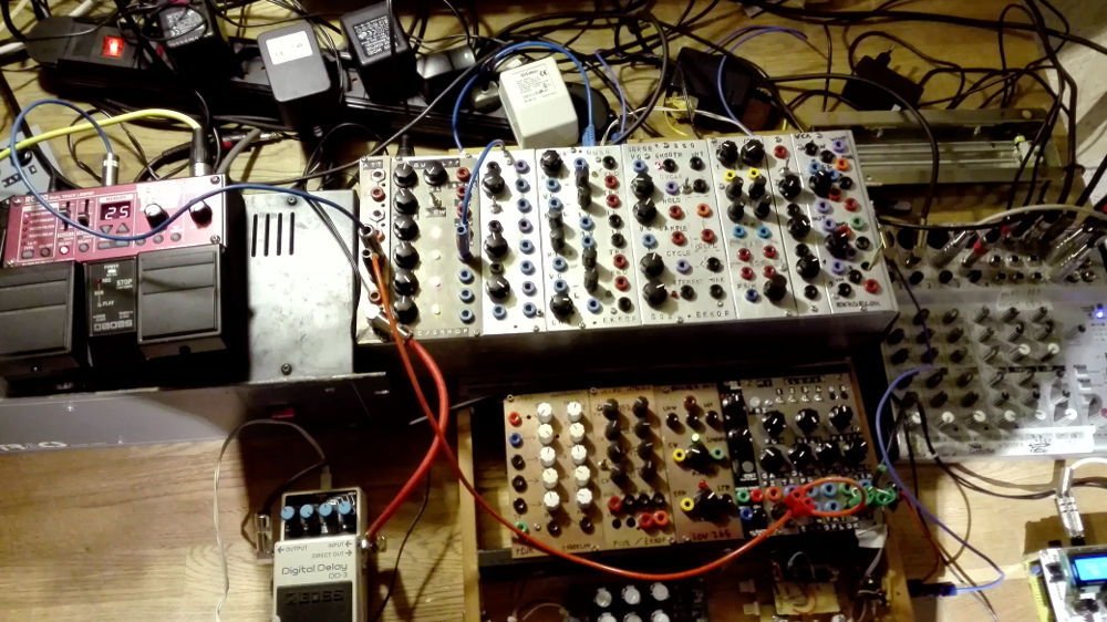 Picture of my self built DIY modular synthesizer in a live set context.