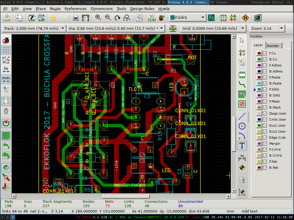 Routing the pcb layout of Buchla Cross fader in kiCad.