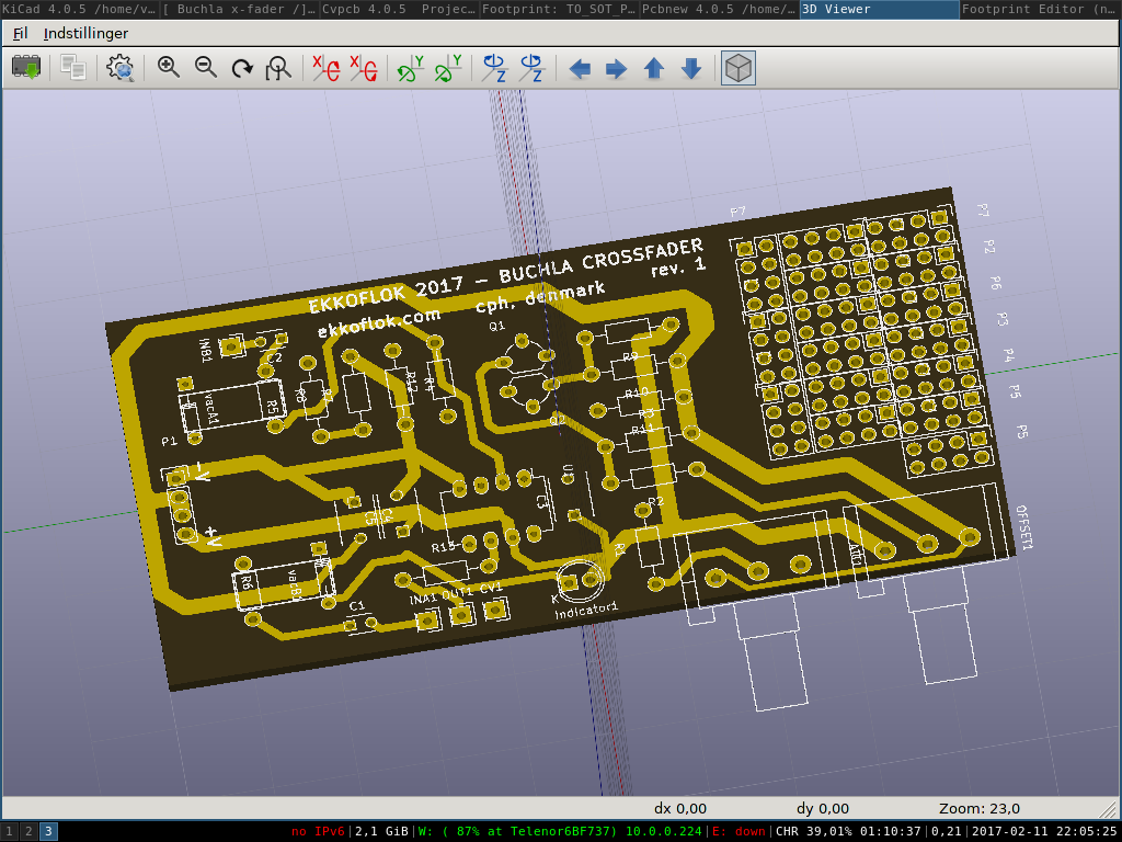 Pcb layout of Buchla Cross fader made with kicad.